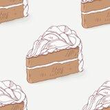 巧克力蛋糕乱画无缝的样式 免版税库存图片