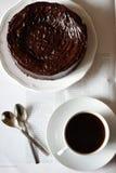 巧克力蛋糕和咖啡 免版税库存图片