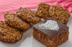 巧克力蛋糕和家做了曲奇饼 免版税库存照片