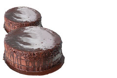 巧克力蛋糕有白色背景 免版税库存照片