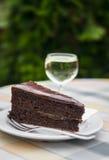 巧克力蛋糕片断在一块白色板材和一杯的白葡萄酒 免版税库存照片