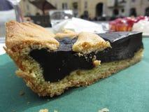 巧克力蛋糕片断在绿皮书餐巾的 从叫作torta coi becchi -意大利的典型的蛋糕的卢卡 图库摄影