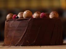 巧克力蛋糕特写镜头用莓,黑醋栗,洒与在褐色的可可粉弄脏了背景 免版税库存照片