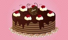 巧克力蛋糕用樱桃 库存例证