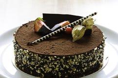 巧克力蛋糕用草莓 库存图片