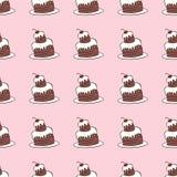 巧克力蛋糕的无缝的传染媒介样式 免版税图库摄影