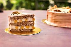 巧克力蛋糕,一个美妙地装饰的蛋糕,轻松的事 免版税库存图片