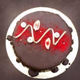 巧克力蛋糕,一个美妙地装饰的蛋糕,轻松的事 库存照片