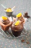 巧克力蜜桔杯形蛋糕 图库摄影