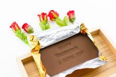 巧克力被标记的愉快的华伦泰我爱你 库存图片