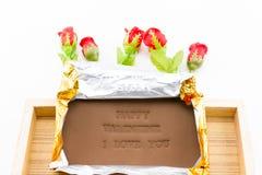 巧克力被标记的愉快的华伦泰我爱你 图库摄影