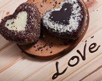 巧克力被烘烤以心脏的形式 日s华伦泰 库存照片