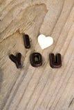 巧克力词我爱你 库存照片