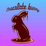 巧克力野兔,熔化与巧克力小滴,在蓝色的动画片 皇族释放例证
