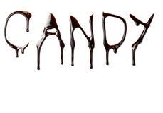 巧克力食物泄漏的信函液体甜糖浆 免版税库存照片
