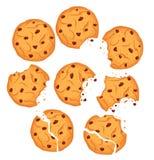 巧克力饼干集合的传染媒介例证 与黑人的不同的形状被隔绝的麦甜饼和面包屑 向量例证