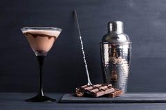 巧克力马蒂尼鸡尾酒 免版税库存图片