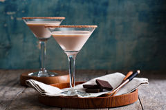 巧克力马蒂尼鸡尾酒coctail 免版税库存图片