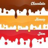 巧克力,蜂蜜,果酱在白色背景滴下 免版税库存图片