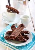 巧克力维也纳手指饼干 库存照片