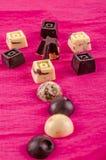 巧克力黑白颜色、形象和心脏花  免版税图库摄影