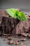 巧克力 黑色巧克力 黑巧克力一些个立方体/块与薄荷叶的 从溢出的巧克力平板磨碎了chockola 图库摄影