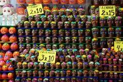 巧克力头骨为死的节日的天在墨西哥 免版税库存照片