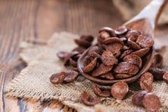 巧克力cornklakes的部分 免版税库存照片