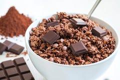 巧克力Muesli 免版税库存照片