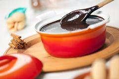 巧克力sanguinaccio调味汁 库存图片