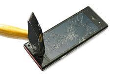 巧妙损坏的电话 库存图片