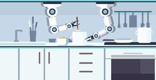 巧妙的得心应手的厨师机器人在平底锅机器人辅助创新技术人工智能方面的准备菜汤 向量例证