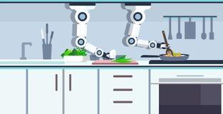 巧妙的得心应手的厨师机器人在煎锅机器人辅助创新技术的准备荷包蛋人为 向量例证