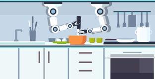 巧妙的得心应手的厨师机器人在碗机器人辅助创新技术的准备煎蛋卷打的鸡蛋人为 库存例证
