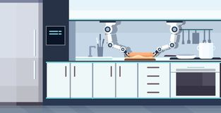 巧妙的得心应手的在机器人辅助创新技术人工智能概念上的厨师机器人滚动的面团 皇族释放例证