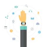 巧妙的手表以平的例证概念为特色 库存例证