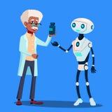 巧妙的机器人参观的医生Vector 按钮查出的现有量例证推进s启动妇女 库存例证