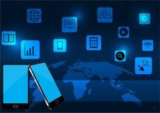 巧妙的电话和应用与世界地图 向量例证