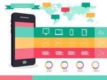 巧妙的电话和聪明的设备信息图表 图库摄影