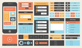 巧妙的电话的平的UI设计成套工具 免版税库存图片