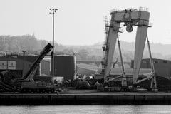 巨人一台框架和起重机在码头边 免版税库存图片