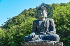 巨人在Sinheungsa寺庙的菩萨雕象在韩国 免版税库存照片