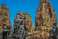 巨人面对prasat bayon寺庙吴哥城柬埔寨 免版税库存照片