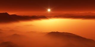 巨人,土星最大的月亮与大气的 巨人表面风景  蒸发碳氢化合物湖 库存例证