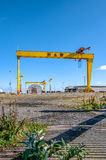 巨人samson 著名造船厂起重机在贝尔法斯特 免版税库存图片