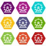 巨型弗累斯大转轮象集合颜色hexahedron 皇族释放例证