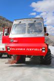 巨型的冰探险家,特别地设计为冰河旅行,采取在哥伦比亚上Icefields,加拿大的表面的游人 库存照片