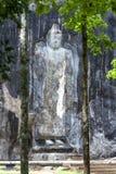 巨型石头在Buduruwagala雕刻了常设菩萨雕象,靠近Wellawaya在中央斯里兰卡 免版税库存照片
