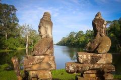 巨型面孔在吴哥窟,柬埔寨 库存照片