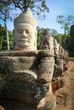 巨型面孔在吴哥窟,柬埔寨 库存图片